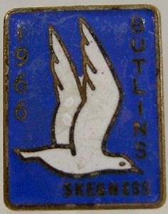 Butlins Holiday Skegness 1966 Enamel Pin Badge - Blue & White